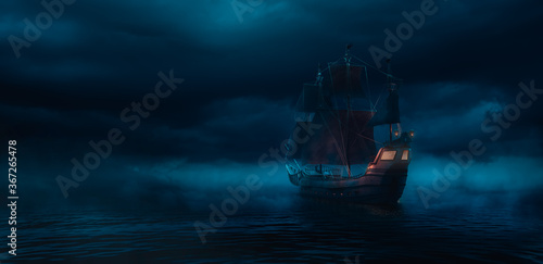 Fotografia ( 3D illustration, Rendering ) VIntage black pirate ship sailing on caribbean waters at night