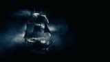 ( 3D illustration, Rendering ) VIntage black pirate ship sailing on a dark foggy background