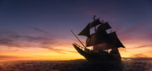 ( 3D Illustration, Rendering ) VIntage Black Pirate Ship Sailing At Sea. High Contrast Image