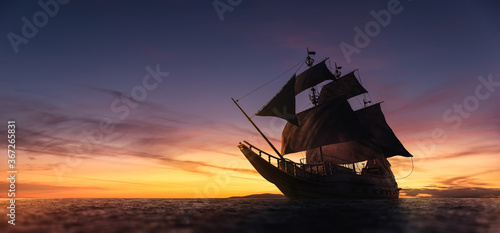 Fotografie, Tablou ( 3D illustration, Rendering ) VIntage black pirate ship sailing at sea