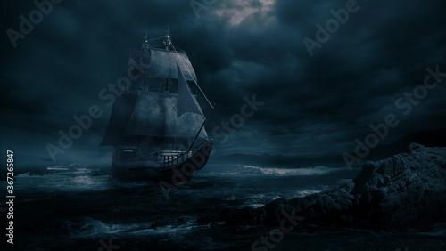 Fotomural ( 3D illustration, Rendering ) VIntage black pirate ship sailing at sea