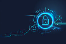 Data Security Concept Design For Personal Privacy, Data Protection, And Cyber Security. Padlock With Keyhole Icon On Blue Background.