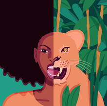 Vector Portrait Of Angry Young Beautiful Black Woman Put Beside A Lioness In The Jungle With Wide Open Jaws