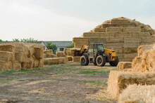Machinery Stacking Hay Bales In Farm Field. Tractor Storing Bails Of Hay. Harvest Time. Farmer Harvested Hay For The Winter. Agriculture Concept
