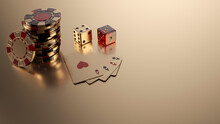 Gold Casino Chips, Dices And Four Aces Isolated On The Golden Background - 3D Illustration