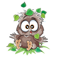 Cute Owlet Sitting On The Ground Under A Leaf From A Tree, Fell, Cartoon Illustration, Isolated Object On A White Background, Vector Illustration,