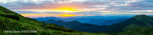 Obraz Colorful landscape at sunset in the mountains, scenic wild nature panorama, Carpathians - fototapety do salonu