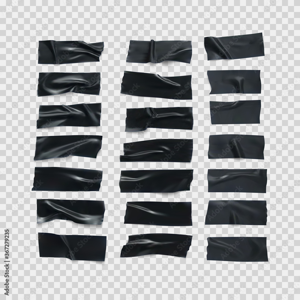 Fototapeta Realistic black glossy insulating tape strip. Sticky scotch isolated on transparent background. Duct tape pieces set. Vector illustration