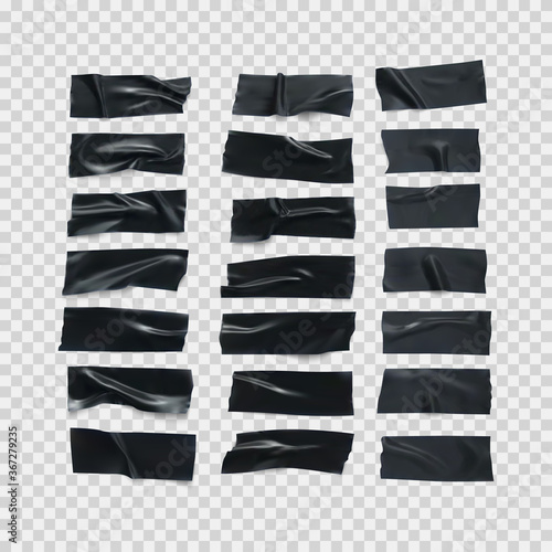 Foto Realistic black glossy insulating tape strip