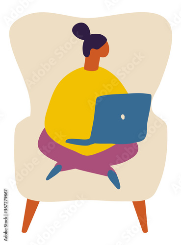 Woman or Girl with laptop sitting on chair at home. Relaxing. Flat Character Vector