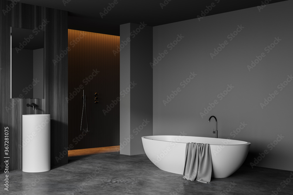 Sink and tub in grey and wooden bathroom corner