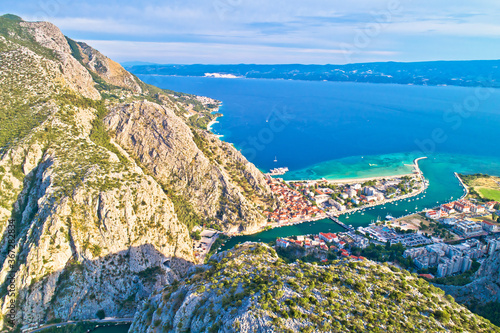 Fototapeta Cetina river canyon and mouth in Omis view from above obraz