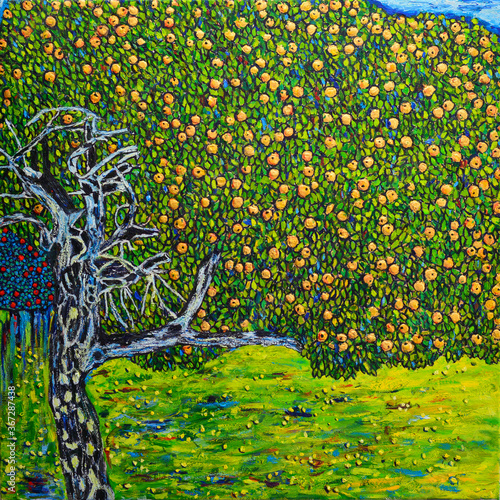 Obrazy Gustav Klimt  beautiful-oil-painting-apple-tree-free-copy-is-based-on-a-photo-reproduction-of-a-wonderful