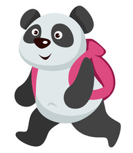 Small Panda Animal Walking With Backpack To School