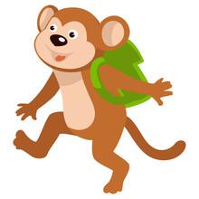 Baby Monkey Carrying Satchel O...