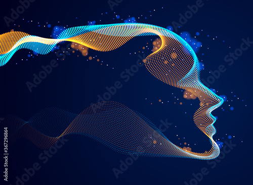 Obraz Technological time Spirit vector visualization in shape of human head made of dotted particles array flow in curve shapes, vector futuristic illustration. - fototapety do salonu