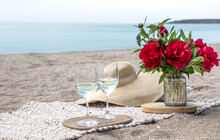 Picnic By The Sea With Flowers...