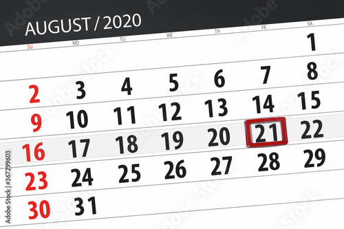 Papel de parede Calendar planner for the month august 2020, deadline day, 21, friday