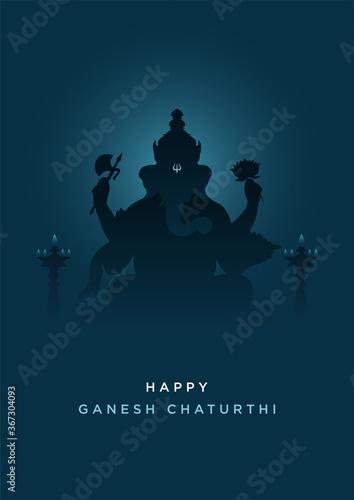 Tablou Canvas Happy Ganesh Chaturthi-Lord Ganesha-Minimal Poster