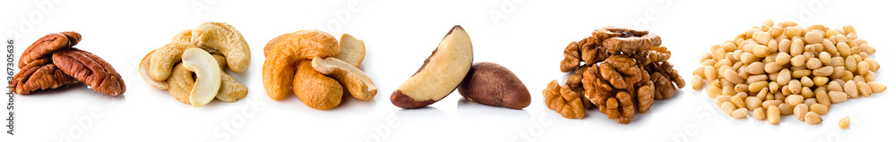 Fototapeta set nuts isolated on white background, Brazil nut, walnut, almond, pine nut