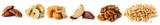 Fototapeta Kawa jest smaczna - set nuts isolated on white background, Brazil nut, walnut, almond, pine nut