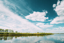 Rechytsa, Gomel Region, Belarus. Dnieper River. European Nature In Summer