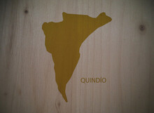 Map Of Quindío Department, Colombia, On Wooden Background, 3D Illustration