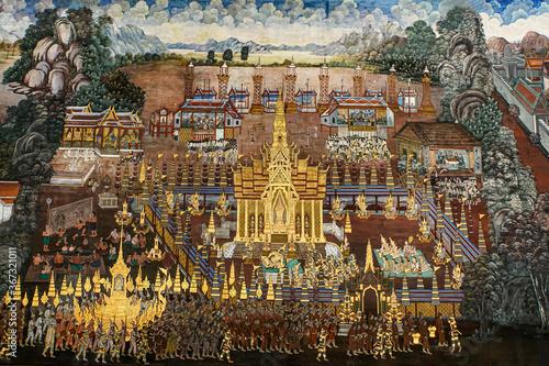 Obraz na plátně Ancient thai painting Ramayana story