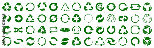 Valokuvatapetti Set of green arrow recycle, means using recycled resources, recycling, arrows, r