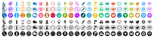Fotografie, Obraz Set colored and black contact icons, communication signs - stock vector