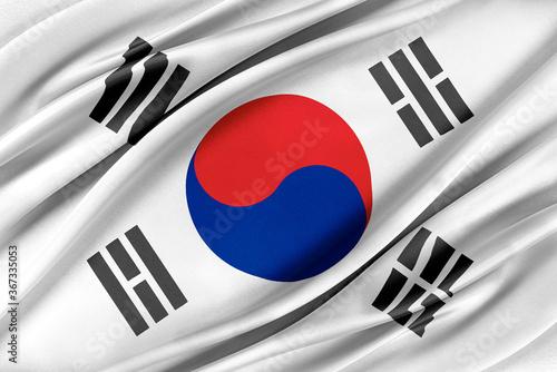 Fototapeta Colorful Korea South flag waving in the wind. 3D illustration. obraz