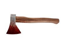 Old Bloody Axe Isolated On Whi...