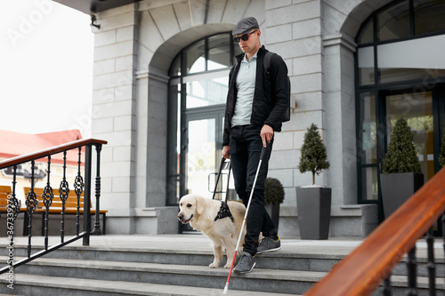 blind man with disability walking down the stairs with a guide dog in city stree Canvas Print
