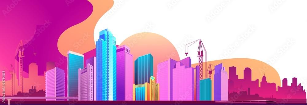 Fototapeta City night banner horizontal concept