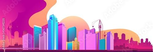 Fototapeta City night banner horizontal concept obraz