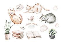 Cute Watercolor Cartoon Cats S...