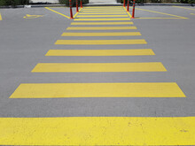 Yellow Color Crosswalk Stripes...