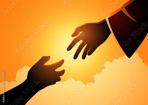God hand reaching out for human hand Fotobehang