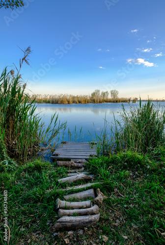 Cuadros en Lienzo fishing pier in Almenara ponds wetland natural space