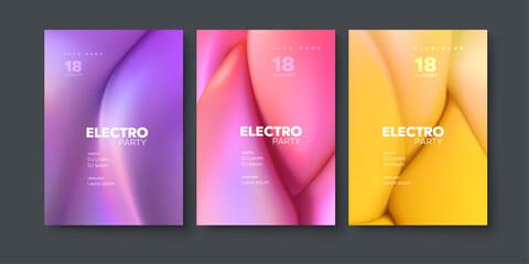 Obraz na płótnie Canvas Electronic music festival ads poster set