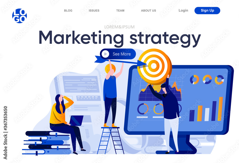 Fototapeta Marketing strategy flat landing page. Marketing team doing target audience research vector illustration. Data analysis and finding potential customers web page composition with people characters