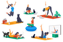 Yoga Doing Activities. Yoga Characters, Workout For People Stretching In Healthy Poses. Leisure, Female Sports, Different Female Poses Stretching Workouts. Cartoon Girl Character. Flat Concept Vector.