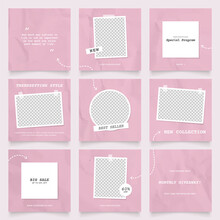 Social Media Template Banner Fashion Sale Promotion. Fully Editable Instagram And Facebook Square Post Frame Puzzle Trendy Sale Poster. Pink Color Vector Background