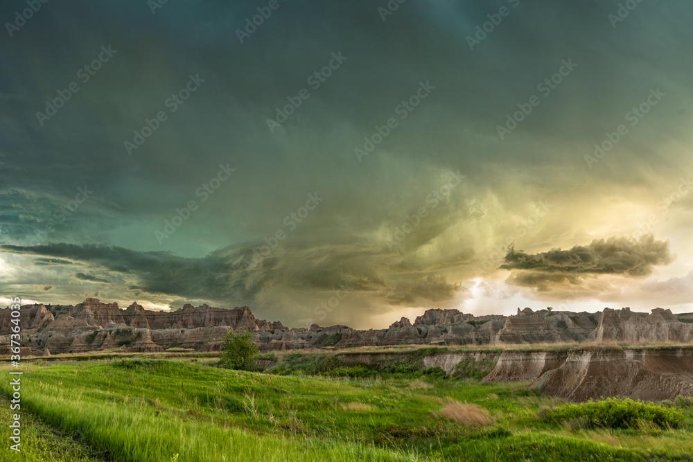 Fototapeta Storm at Badlands National Park
