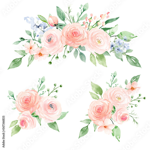 Photo Set watercolor flowers hand painting, floral vintage bouquets with pink blush roses