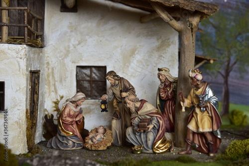 Fotografie, Obraz Krippe, Weihnachtskrippe, Geburt, Weihnachten, Jesus, Christen, Religion, Maria