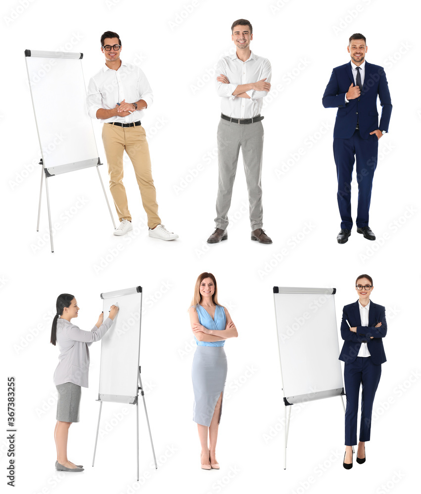 Fototapeta Collage with photos of business trainers on white background