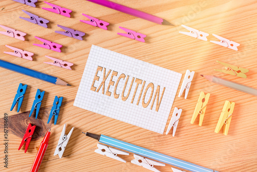 Conceptual hand writing showing Execution Wallpaper Mural