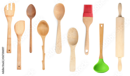 Foto Set with different wooden cooking utensils on white background, banner design