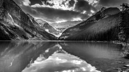Fototapeta Czarno-biały Black and White Photo of Lake Louise in the Rocky Mountains in Banff National Park, Alberta, Canada